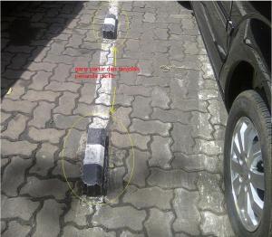 jalur parkir dengan tonjolan